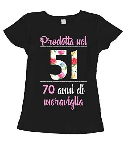 fashwork T-Shirt Maglietta Compleanno Regalo Donna 70 Anni Prodotta nel 1951, 70 Anni di meraviglia - Flower - Summer - Idea Regalo