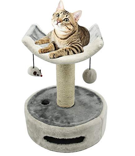 BPS Árbol Rascador Gato Juguete para Gatos con Bola Juguete Ratón y Parte Arco Superior Incluido Base de Juego Materiales Rugoso Tamaño 30 * 30 * 36 cm BPS-10724