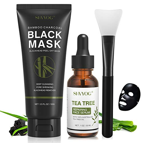 Blackhead Peel Off Face Mask, SHVYOG 3-in-1 Blackhead Remover Charcoal Face Mask with Brush & Tea Tree Serum, Purifying & Deep Cleansing Black Mask for Blackheads, Dirt, Acne, Pores Shrinking (100g+30ml)