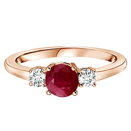 0.50 Cts Anillo de compromiso de tres piedras de oro amarillo de 9 quilates con piedras preciosas redondas de rubí (Oro rosa, 16)