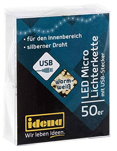 Idena 30257 - Catena luminosa LED Micro con 50 LED in bianco caldo e spina USB, per uso interno, per feste, Natale, decorazione, matrimonio, come luce d'atmosfera e per l'artigianato