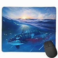 美しい 夕日 しんかい かい 世界 さめ マウスパッド ゲーミングマウスパッド3D柄プリント パソコン デスクマウスパッド 滑り止め 防水 30X25X0.5cm