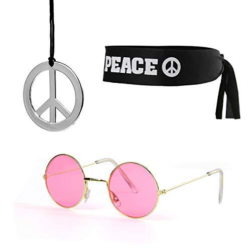 Funhoo Occhiali da Sole e Collana Fascia con Segno di Pace per Halloween Costume Anni '60, Anni '70 Accessori Vestito da Will Vestito da Hippie
