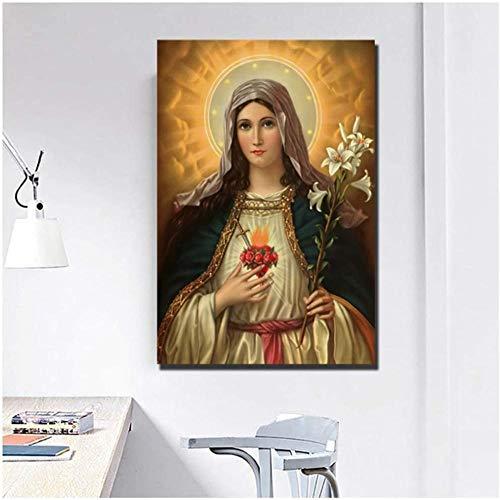 VGSD® El Inmaculado Corazón De María Cristo Impresiones En Lienzo Cuadro Pinturas Modulares para El Cartel De La Sala De Estar En La Pared Decoración del Hogar-50X70Cm Sin Marco