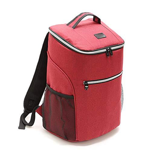 Picknickrucksack, Essensbehälter Rucksack Große isolierte Kühltasche, für BBQ/Outdoor-Aktivitäten/Imbiss Soft Cooler, 20L,Rot
