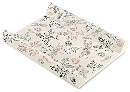 Baby Wickelauflage Wickelmulde Wickelunterlage 50 x 70 cm abwaschbar Wickeltischauflage Wickelaufsatz für Kinderbett Unisex (Botanical beige)
