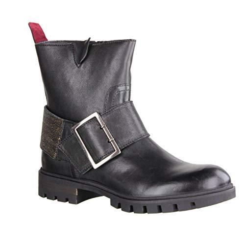 Donna Carolina 34.622.031 Nero/Maglina ORO (schwarz) - ungefütterte Stiefelette - Damenschuhe Modische Stiefelette/Boots, Schwarz, Leder, absatzhöhe: 20 mm