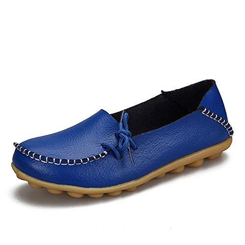 Women's Leeglopers, Casual Lederen Moccasins Flat Boot Schoenen Lichtgewicht Slip Op Wandelschoenen,B,40EU