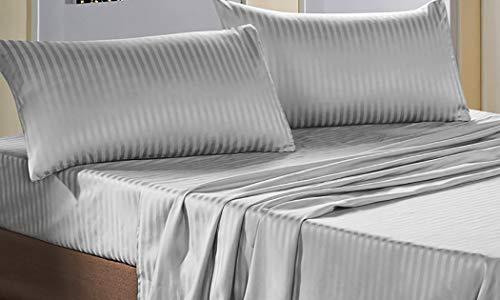 Bettwäsche-Set für Doppelbett aus Satin, Oberlaken, Spannbettlaken, 2 Kissenbezüge, grau