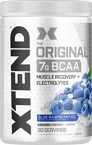 Scivation XTEND Original BCAA Powder Blue Raspberry Ice | Sugar Free Post Workout Muscle Recovery Drink with Amino Acids | 7g BCAAs for Men & Women| 30 Servings