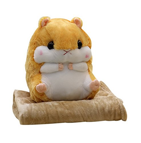 Spicy Meow 2 en 1 Plush Hamster muñeco de Peluche Almohada Muñeca Cojín Conjunto, marrón Claro