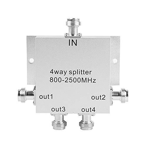 Mobilsignalsplitter, 4-vägs N-hona metall 800-2500MHz Power Splitter, 50? / N mobiltelefonsignal för inomhusantenner