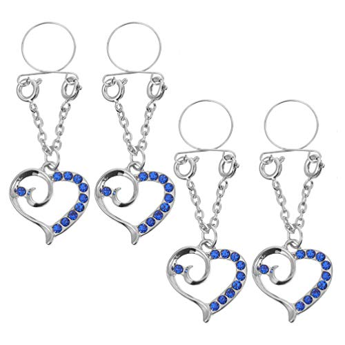 EXCEART Pinzas para Pezones de Metal con Encanto de Corazón No Perforado...