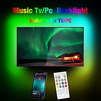 Miume Music Tv Led Backlight with A 9.8ft is Suitable for 14-75 Inch Tv Or PC Screen.Controlled by App and Remote Has 160,000 Colors,Can Change Colors with Music Suitable for Tv Room
