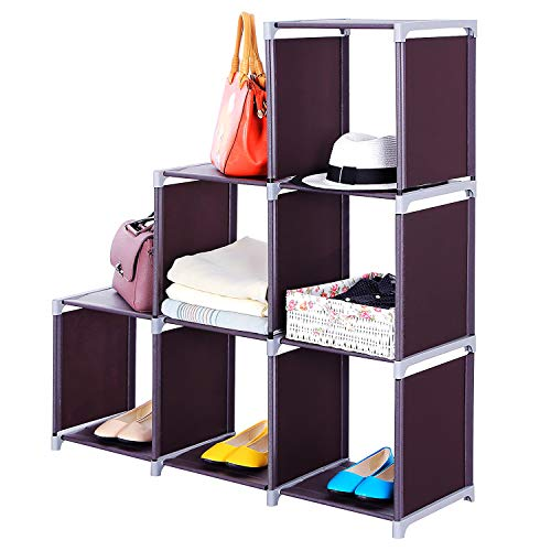 Fashionlook DIY Storage Shelf, 6-Cube Storage Rack Multifunctional Assembled 3 Tiers Storage Shelf Dark Brown