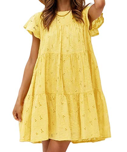 Amegoya Women's Cotton Embroidery Hollow Out Short Dress Button Loose Mini Dress Yellow