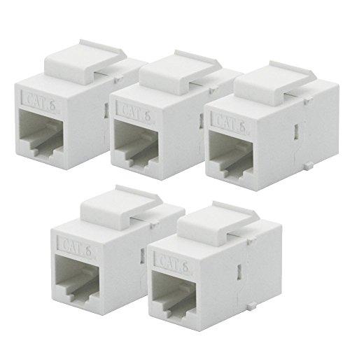 Durable para Panel de Salida de Placa de Pared, Blanco, 5 Piezas por Juego, Conector Hembra CAT6 RJ45, Inserto de acoplador, Conector a presión - (Longitud del Cable: sin Cable) (Color : No Cable)