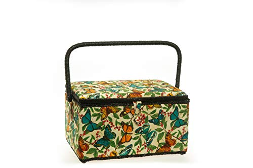 """Allary 4397 Jumbo 16""""x10""""x8"""" Rectangle Sewing Basket Bundle with 811 Sewing Accessory Kit"""