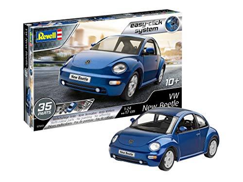 Revell 07643 VW New Beetle, Automodellbausatz 1:24, 17 cm Modellbausatz für Einsteiger mit dem Easy-Click-System, farbige Bauteile, blau