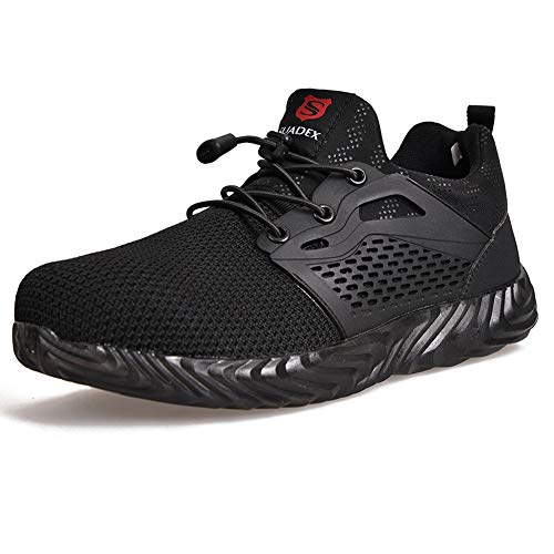 SUADEEX Sicherheitsschuhe Herren s3 Arbeitsschuhe Damen Leicht Atmungsaktiv Schutzschuhe mit Stahlkappe Sportlich Schuhe,02-Schwarz,39 EU