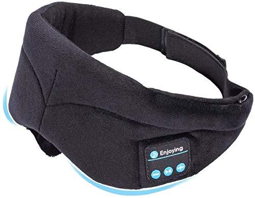 Bluetooth Casque de Couchage Masque d'oeil sans Fil Musique sans Fil Bluetooth Sleep Beyes Shades Casque Support Handsfree Lavable Silk Bandes Vavange/Noir Baifantastic