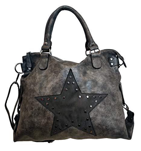 Star Bag - Bolso para mujer, diseño de estrella vintage, con asa, tela de lona con remaches, color Gris, talla Einheitsgröße