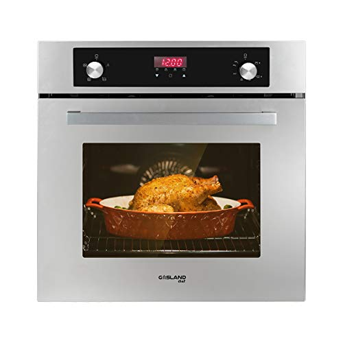 Single Wall Oven, GASLAND Chef GS606DS 24' Built-in Natural Gas Oven, 6 Cooking Functions Convection Gas Wall Oven with Rotisserie, Digital Display with Mechanical Knob Control, Stainless Steel Finish