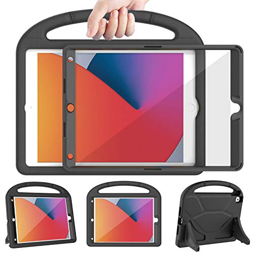 LEDNICEKER Kids Case for iPad 8th & 7th Generation, iPad 10.2 Case 2020/2019 with Screen Protector, Shockproof Lightweight Handle with Kickstand Cover Case for iPad 10.2 2020 Latest Model, Black