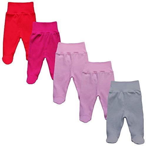 MEA BABY MEA BABY Unisex Baby Hose mit Fuß aus 100% Baumwolle im 5er Pack. Baby Stramplerhose mit Fuß. Babyhose mit Fuß Jungen Baby Hose mit Fuß Mädchen. (80, Mädchen)