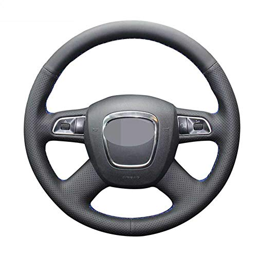 ZpovLE Cubierta de Volante Negra Cosida a Mano, Apta para Audi A3 (8P) Sportback A4 (B8) Avant A5 (8T) A8 (D3) A6 (C6)