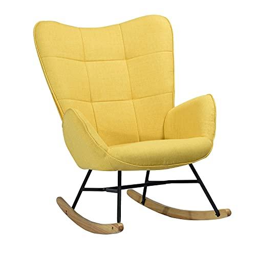 MEUBLE COSY Kelan Yellow Sedia a Dondolo Moderna Poltrona Relax con Braccioli E Alto Schienale per Soggiorno, Tela, Giallo, 69x84x97cm