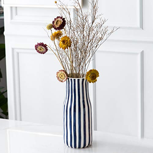 Tenforie Ceramic Flower Vase, Elegant Stripe Design Decorative Table Floral Vase for Living Room Indoor Home Decor, Wedding Centerpieces/Arrangements,Bottom Waterproof