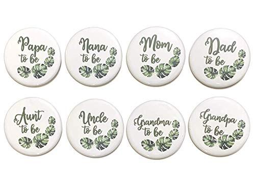 "1 pc Mom Dad Aunt Uncle Grandma Grandpa Nana Papa to be Baby Shower Gift Favors badge pin 2.25"" DIAMETER pinback button Back Palm Monstera leaf jungle nature theme"