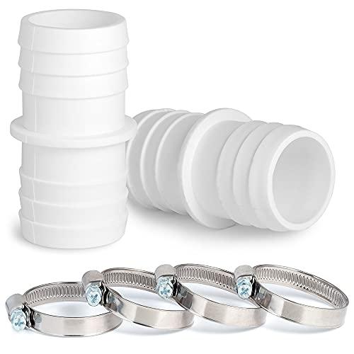 Villkin 2X Schlauchverbinder mit 4X Schlauchschellen für den Pool - Schlauchtülle im 2er Pack (32mm x 32mm, Weiß)