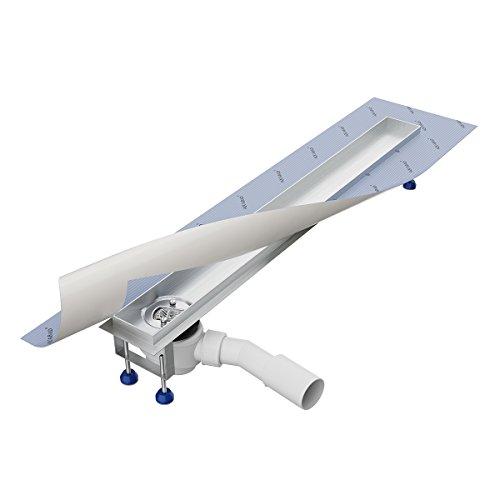 Grundkörper-SET für Duschrinne 70 cm AQUABAD® SDS Pro aus Edelstahl inkl. Haarsieb/Viega Ablauf waagerecht - Abgang seitlich (Ohne Abdeckung - separat erhältlich)
