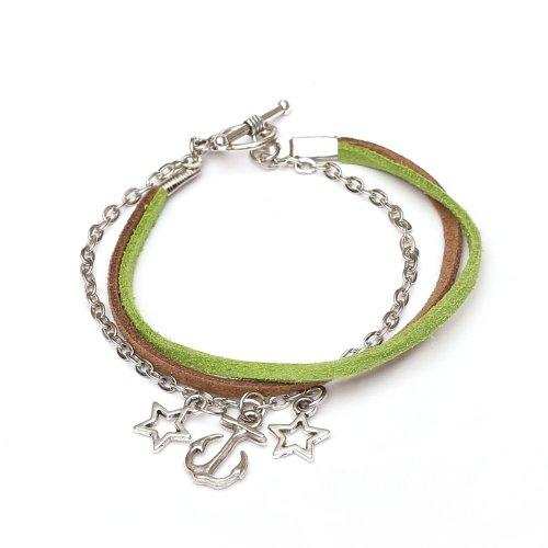 Idin Fashion - Pulsera de cordón de Gamuza sintética marrón y Verde con Cadena de Hierro y Barra de Estilo Tibetano y Cierre de Anilla
