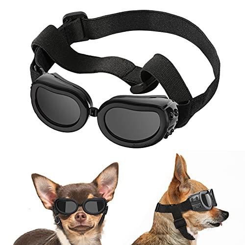 Lewondr Sonnenbrille für Hunde UV Schutzbrille, Hunde Winddichte & Antibeschlagbrille & Wasserdichter Hundebrille mit Einstellbar Gummiband für Kleine Hunde - Schwarz