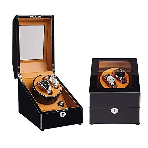 CCAN Enrollador de Reloj automático, Caja de Madera, Modo 5, Motor silencioso, Caja de Almacenamiento de Cuero 2 + 3 Happy Life