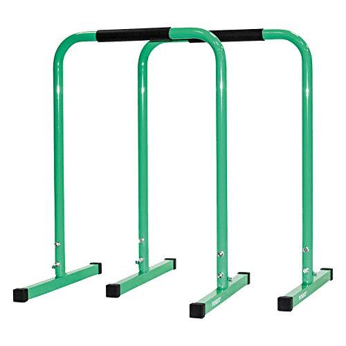 POWRX Dip Barren (Paar) inkl. Workout | Push Up Stand Bar | Dip Station | Fitness Rack | Core Trainer (Grün, 90 x 65 cm)