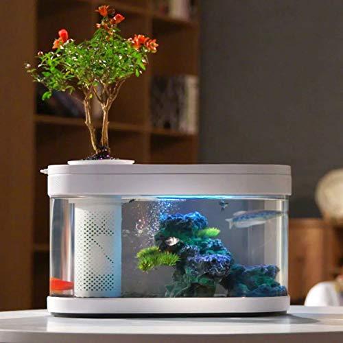 MYYYYI Amphibiöse Ökologische Fischbecken Kleiner Aquascape Beleuchtete Desktop-Aquarium-Multi-gefilterte Siphon-Blumentopf-Fischbeckenglas