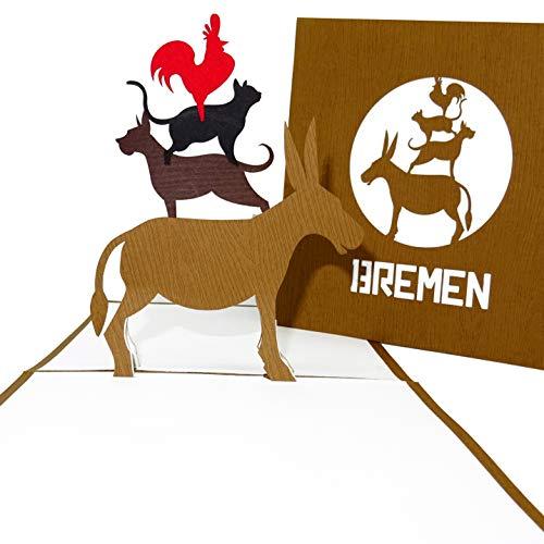 """Pop Up Karte """"Bremen - Bremer Stadtmusikanten"""" - 3D Grußkarte als Souvenir, Geschenk, Geburtstagskarte, Einladungskarte & Gutschein zum Städtetrip nach Bremen"""