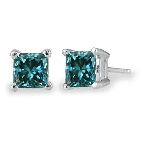 PARIKHS Princess cut Blue Diamond Stud AAA Quality in White Gold (0.07ct)