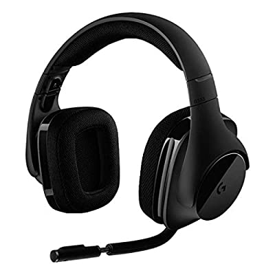 Logitech G533 Wireless Gaming Headset, 7.1 Surround DTS Headphone:X 3D Positional Audio, 40 mm Pro-G Drivers, Noise-Cancelling Mic, 2.4 GHz, USB Port, Lightweight, 15hrs Battery Life, PC/Mac, Black