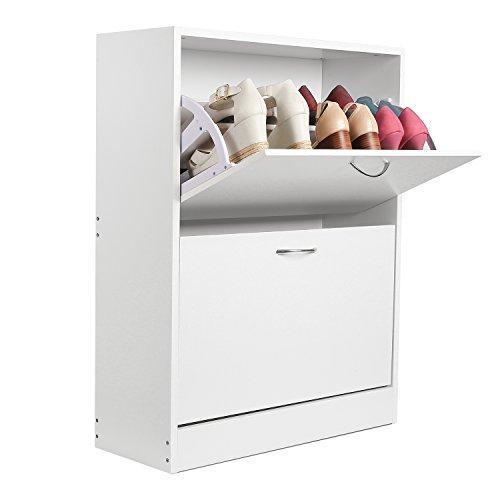 HOMFA Schuhschrank Schuhregal Schuhkommode 2 Schuhablagen pro Schuhkipper bis zu 12 Schuhe 60x24x80cm (Schuhschrank mit 2 Fächern)