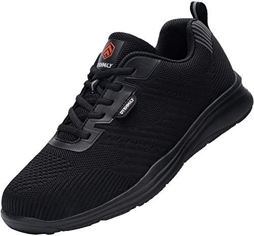 Fenlern Chaussures de Sécurité Homme Imperméable Embout Acier Chaussures de Travail Respirant Legere Sport Baskets (Noir Mat,43.5 EU)