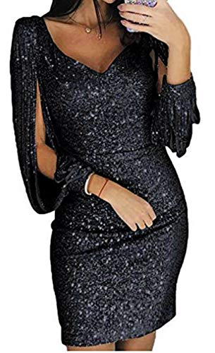 Pagacat Damen Cocktailkleid Glitzer Abendkleider Sexy V-Ausschnitt Kleid Kurze Elegante Glänzend...