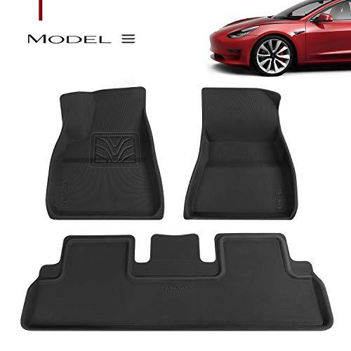Farasla Upgraded Floor Mats for Tesla Model 3 - Premium All Weather Anti-Slip Floor Liners - Compatible with 2017, 2018, 2019 2020 Models (3 Pieces/Set)