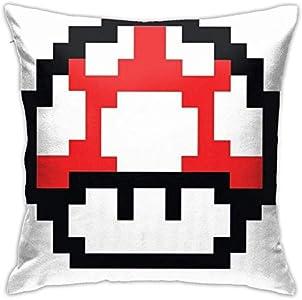 FETEAM Funda de Almohada Cuadrada roja de Mario Mushroom de 8 bits, Funda de Almohada para sofá, cojín para Coche, decoración Interior, Funda de Almohada para Silla