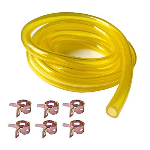 """DIKAER 6-Feet-Long Fuel Line Hose 1/4"""" ID x 3/8"""" OD with Hose Clamps for Small Engines"""