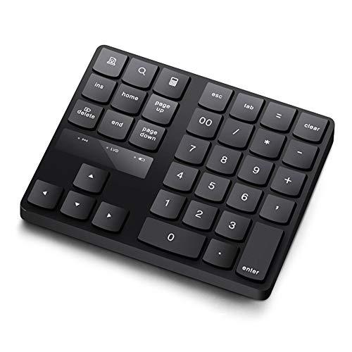 Dailing Bluetooth-Ziffernblock, tragbar, kabellos, wiederaufladbar, 35 Tasten, externer Nummernblock mit 2,4 GHz, kompatibel für PC, Laptop, MacBook, iMac, Win, Mac OS, Schwarz